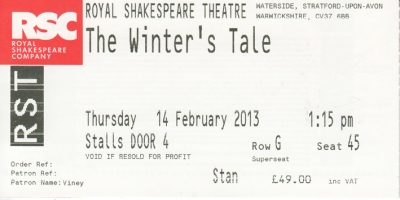 The winter's Tale ticket