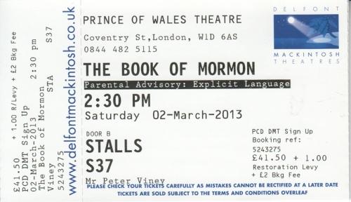 Book of Mormon UK ticket