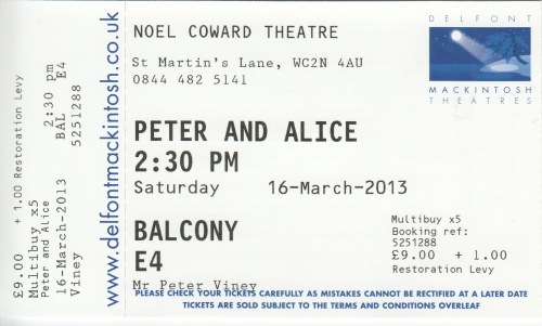 Peter& Alice ticket