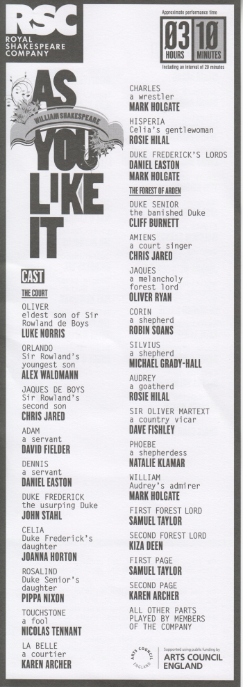 As You like It cast