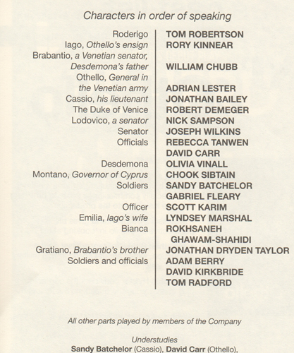 Othello cast