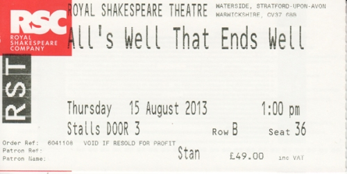 All's Well ticket