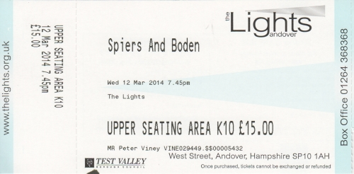 Spiers & Boden ticket