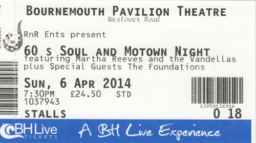 Martha vandellas ticket