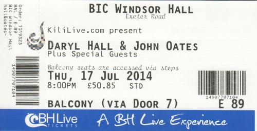 Hall & Oates ticket