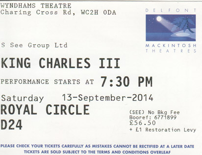 King Charles III ticket