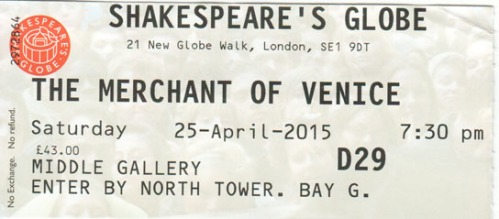 Merchant of Venice globe ticket