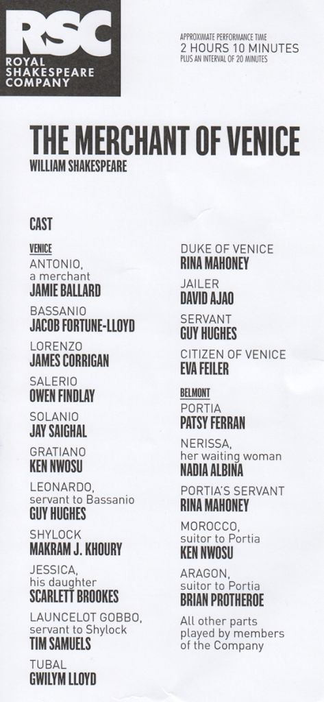 Merchant of V RSC cast