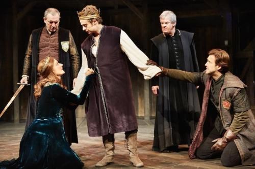 Joely Richardson (Margaret of Anjou)  Alex Waldmann (Henry VI) Michael Xavier (Earl of Suffolk) The Wars at The Rose Theatre. Photo by Mark Douet  I80A2422 sized