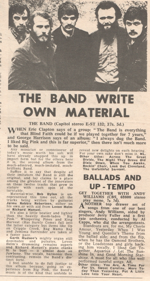 'The Band' NME review 1969