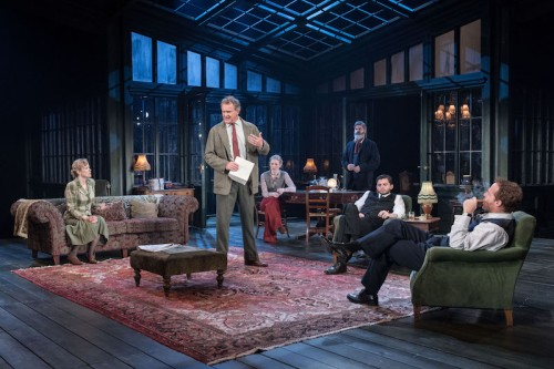 1. Hugh Bonneville (centre) & company in Chichester Festival Theatre's AN ENEMY OF THE PEOPLE Photo Manuel Harlan