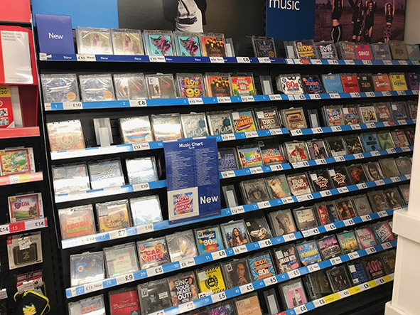 CDs in supermarket