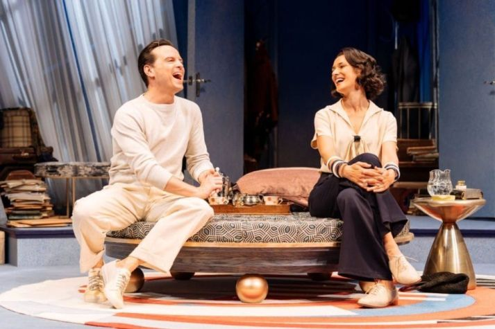 Andrew-Scott-as-Garry-Essendine-and-Indira-Varma-as-Liz-Essendine-in-Present-Laughter.-Photo-Maneil-Harlan_2-e1561544683786